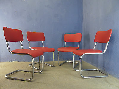 1of4 VINTAGE RETRO INDUSTRIAL MID CENTURY 50s 60s CANTILEVER DINING CHAIRS