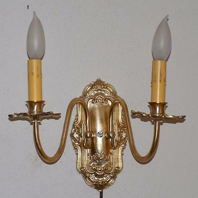 Vintage Ornate 1930's 1940's Solid Brass Art Deco Wall Sconce Dual Light