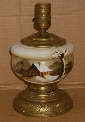 Old Antique Handpainted Small Milkglass & Brass Rustic Lodge Cabin Table Lamp