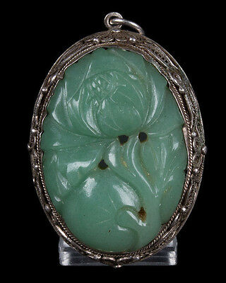 China 20. Jh. Anhänger -A Chinese Jadeite & Silver Pendant - Chinois Cinese