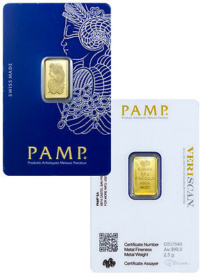 PAMP SUISSE Lady Fortuna 2.5g (gram) Gold Bar .9999 PURE