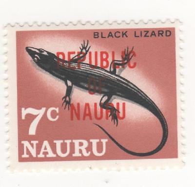 "1968 O'print REPUBLIC OF NAURU 7c "" BLACK LIZARD "" stamp  SG#85 Mint MUH #"