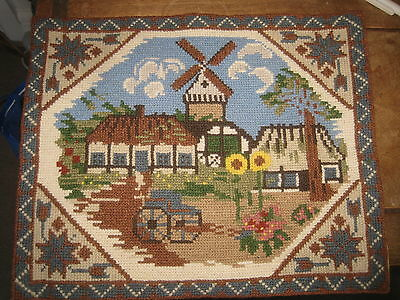 "Completed vintage tapestry needlepoint  folk art windmill  12"" x 15"" hemmed"
