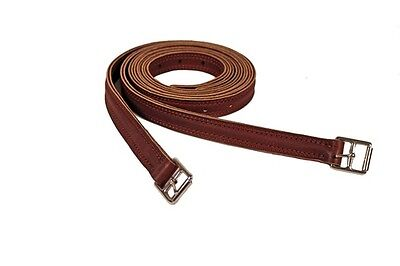 """NEW Flexible Nylon Centered Stirrup Leathers 1"""" x 54"""" or 1"""" x 60"""" Brown"""