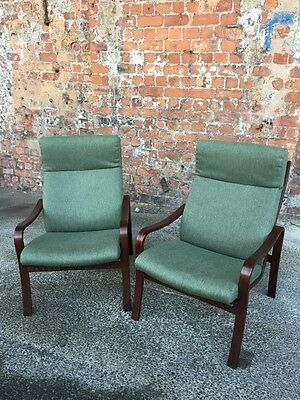 Pair Of Modern Vintage Scandinavian Design Armchairs - Two Stained Beech Chairs