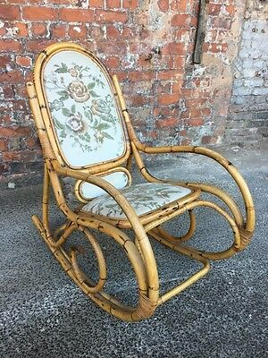 Vintage Mid-Century Large Bamboo Rocking Chair With Floral Upholstery - Armchair
