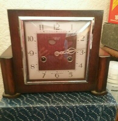 Vintage Smiths Enfield Oak Art Deco Mantel Clock