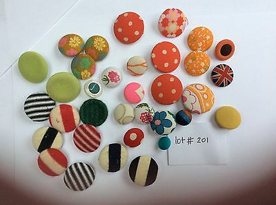 Bright Colourful Assorted Vintage Fabric Covered Buttons Lot #201