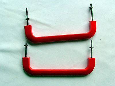 VINTAGE TWO PAIRS LUCITE RED DOOR HANDLES ~ 1950's