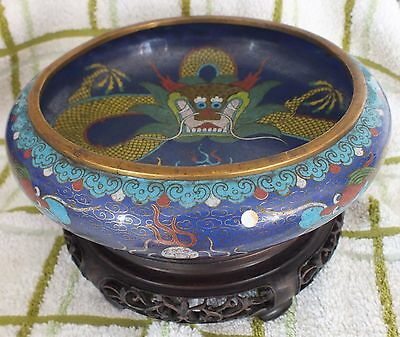 """Chinese Cloisonne Dragon Bowl 8"""" Tongzhi Mark With Mahogany Stand"""