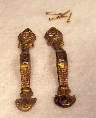 Pair of Solid Brass Detailed   Door Handles