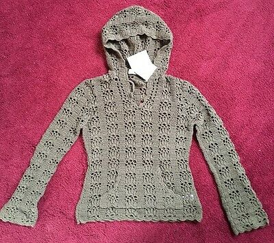 BNWT Cherokee  Hand Crochet Brown Long Sleeved Top With Hood Girls Age 8-9