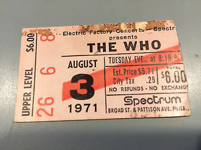 THE WHO August 3 1971 Ticket Stub Philly Spectrum