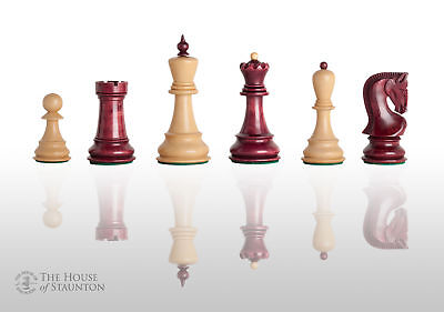 """USCF Sales The Zagreb '59 Chess Set - Pieces Only - 3.875"""" King - Red Mahogany"""