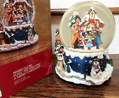 Christmas Musical Snow Globe Holiday Home Accents Decor We Wish You A Merry....
