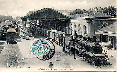 "CPA HERAULT 34 BEZIERS ""LA GARE"" Train, Locomotive"