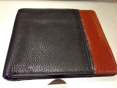 Real Soft Leather Bifold Wallet - Black And Brown -