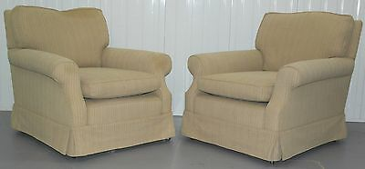 Pair Howard Style Open Armchairs Coil Sprung Base Feather Filled Cushions
