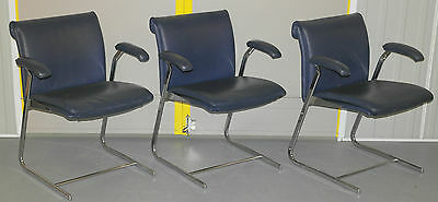 1 Of 3 Boss Design Delphi Low Back Stacking Chair Rrp £650 Leather And Chrome
