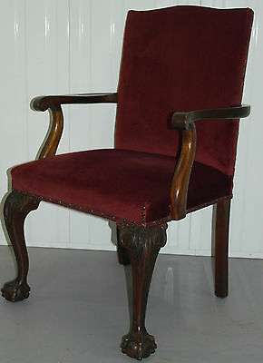 Stunning Reproduction Chippendale Carver Armchair Velvet Upholstery Claw & Ball