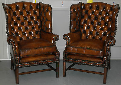 Pair Of George Iii High Wingback Fully Restored Armchairs Whiskey Brown Leather