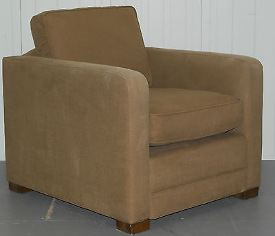Rrp £950 Sofa.com Wide Square Contemporary Armchair With Feather Filled Cushion