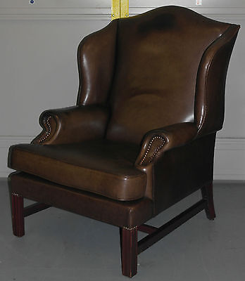 Vintage Aged Brown Fully Aniline Leather Wingback Armchair Georgian H Frame