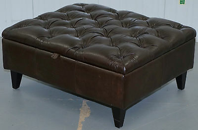 Large 92.5 X 79Cm Aged Brown Leather Tetrad Footstool Ottoman With Storage Space