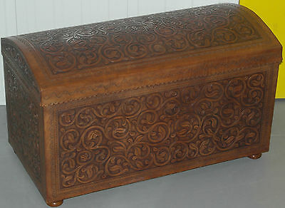 Stunning Leather Bound Trunk Chest Stunning Patina Rare Find Nicely Tooled