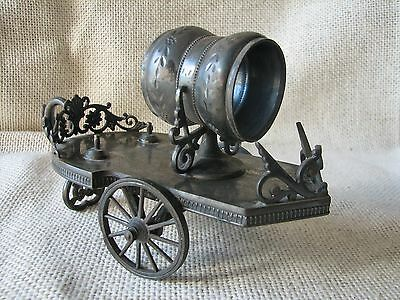 Antique VICTORIAN Silverplate FIGURAL Napking Ring CART On WHEELS