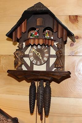 German Black Forest Musical Cuckoo Clock With Dancers ~ RUNS