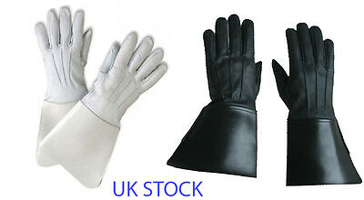 New White / Black Gauntlets Real Leather Piper Drummer Quality Leather Gloves