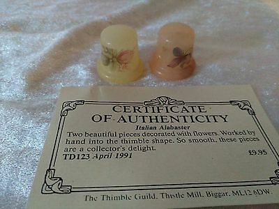 'italian Alabaster' & Flowers Thimbles With Certificate The Thimble Guild 1991