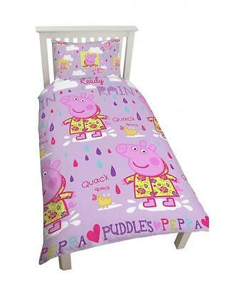 Peppa Pig Puddles Single Reversible Duvet Set Quilt Cover Kids Girls Bedding