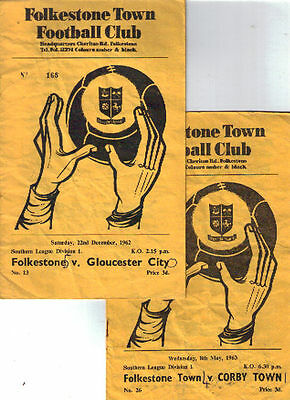 1962/3 Folkestone Town v Gloucester City + Corby Town, Southern League