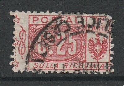1914 ITALY PARCEL POST 25c RED RECEIPT PORTION Stamp - USED