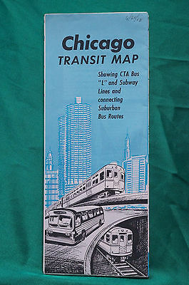 Chicago Transit Map - Subway and Buses - 1968