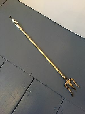 Vintage Telescopic Brass Toasting Fork With Decorative Horse Head Handle