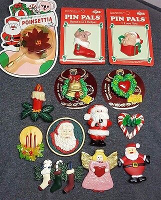 Mixed Lot Of 13 Vintage Resin Or Plastic Christmas Holiday Pins Brooches