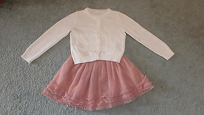 Girls Party Cardigan Cream and Sparkly Pink Skirt 5-6 Years Excellent Condition
