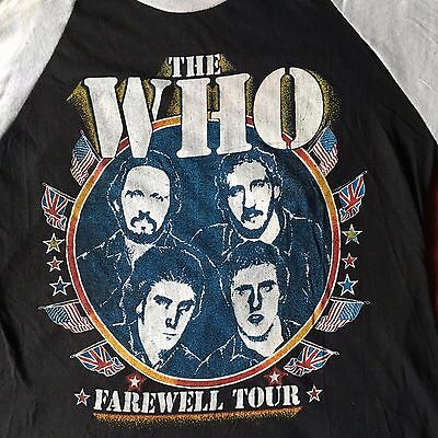The WHO VINTAGE Keith Moon Tribute 1982 ORIGINAL M Concert Baseball T-shirt 3/4