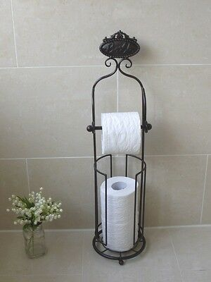 Antique French Vintage Style Black FREE STANDING TOILET ROLL HOLDER WITH STORAGE