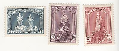 Australia 1938 ROBES KGVI  & Queen Elizabeth  FULL SET  to ₤1 THICK PAPER MLH