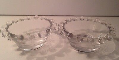 """Vintage Clear Balled Candleholder Candlewick? 2.5"""" Round"""
