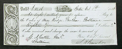 Boston 1856 Illustrated Ship Check Eaton Baltimore Servant US Payment (I-8802+