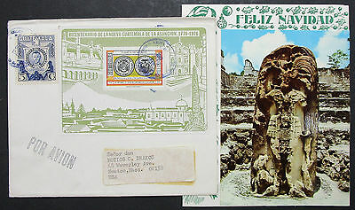 Guatemala Block on Airmail Cover with Christmas Card Weihnachten Brief (I-8918
