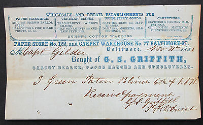 US 1851 Capt Gilder - GRIFFITH - Paper Store Baltimore Warehouse  (I-8805+