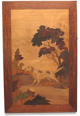 Pointer Dog Hunting Marquetry Inlaid Wood Wall Hanging Plaque Panel