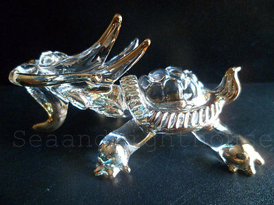 East Chinese Dragon Turtle Lucky item Hand blown Glass Figurine Collectible New