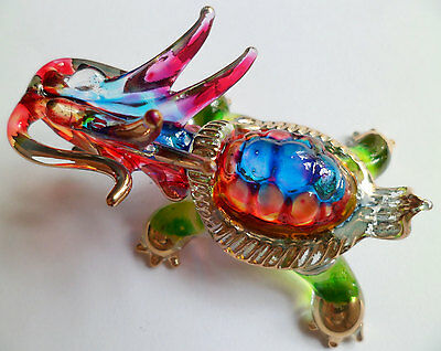 East Chinese Dragon Turtle Lucky item Glass Figurine Hand-painted Collectible